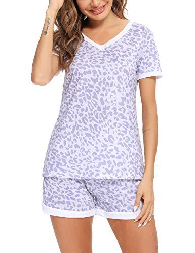 Irevial Mujer Pijamas de Algodon de Manga Corta,Sexy Pijama con Estampado de Leopardo con Cuello en v, Camiseta y Pantalones Corta con Bolsillos 2 Piezas,Morado,M