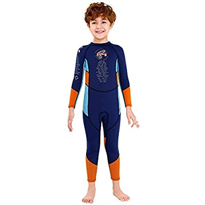 TENMET Boys Kids 2.5mm Neoprene Keep Warm Wetsuit UV Protection Swimsuits Long Sleeves Diving Suits Size 8