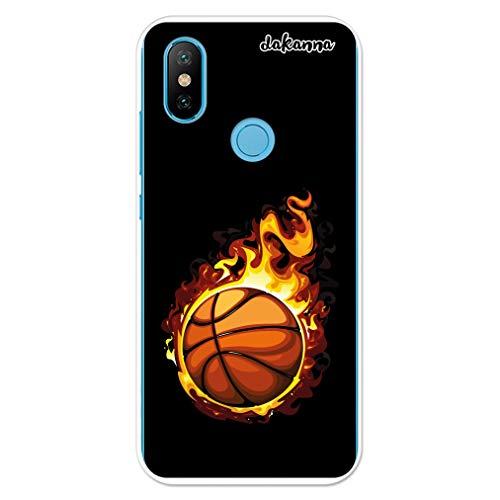dakanna Funda para Xiaomi MI A2 - Mi 6X | Balón de Baloncesto en Llamas | Carcasa de Gel Silicona Flexible Transparente