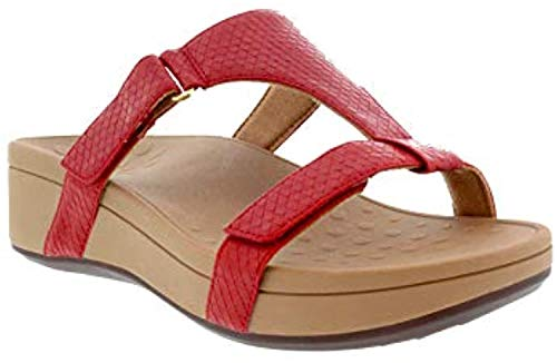 Vionic Women's Pacific Ellie Wedge Sandals - Ladies Casual Sneakers with Concealed Orthotic Arch Support Red 8 Medium US