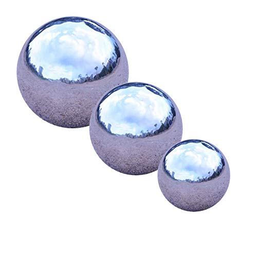 GDglobal Edelstahlkugeln Silber Gartenkugel Dekokugel 3 Stück je 1x Durchmesser 8cm, 10cm, 12cm