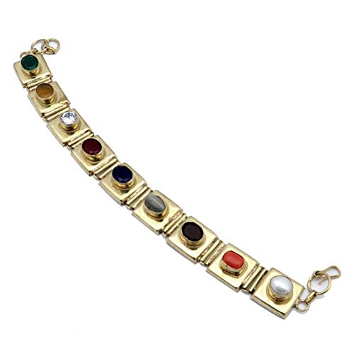 Perla de río con pulsera regional de múltiples piedras Nav-Ratna, 7-9 'de largo, joyería artística hecha a mano de metal de latón, tienda de variedad completa