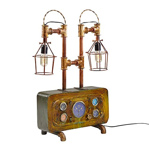 FineBuy Tischlampe FB52116 Braun Pipe-Art Lampe 79 cm Metall Steampunk Leuchte | Industrielampe Vintage Style E27 Fassung | Stehlampe aus Rohren | Deko Leuchte Industrial Design