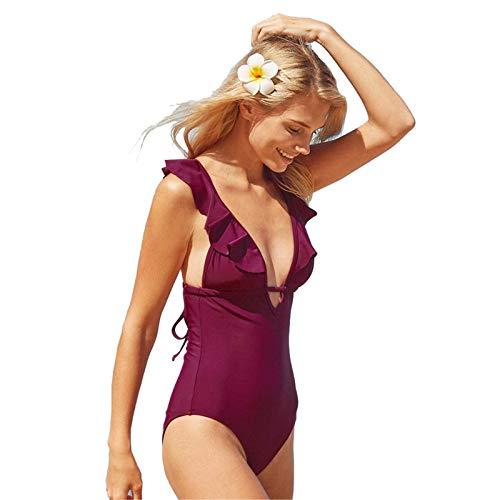SEDEX Costume Intero Donna Increspatura Push Up Monokini Halter Profondo V Scollo Triangolo Regolabile Cross Straps Sexy Costume da Bagno Beachwear dello Swimwear Imbottito da Spiaggia Mare e Piscina