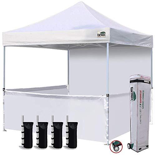 Eurmax 10x10 Ez Pop Outdoor Instant Canopies with 4 Zipper Sidewalls and Roller Bonus 4 Weight Bags, 1, White