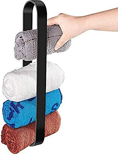 WWJ Toalleros Toallero Negro sin taladrar Toalleros para baños con Adhesivo Adhesivo Organizador de Barras de toallero, 50Cm
