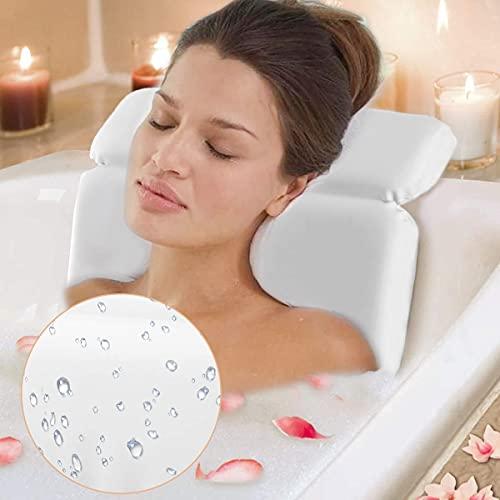 IROO® Badewannenkissen,Wasserdicht, Nackenkissen für Badewanne mit 7 starken Saugnäpfen, Hautfreundlich Komfort Badekissen für Badewanne, rutschfest, Geeignet für Badewannen und Home Spa