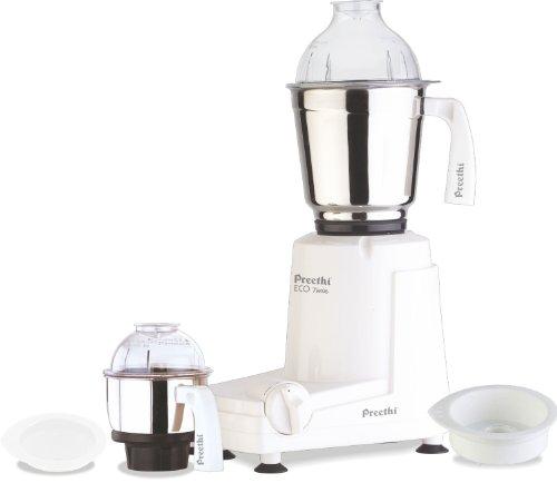 Preethi Eco Twin 2-Jar Mixer Grinder, Medium, White