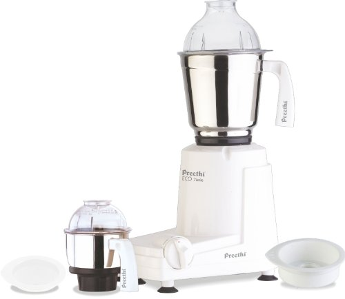 Preethi Eco Twin 2-Jar Mixer Grinder, Medium, White