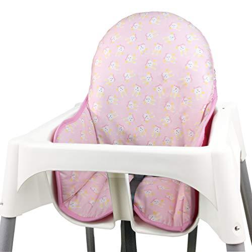 IKEA - Fundas de asiento de algodón para trona de bebé de Zarpma, algodón acolchado, funda plegable para silla de bebé IKEA rosa rosa