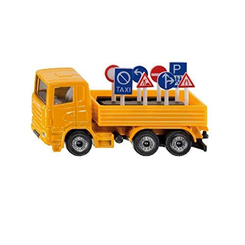Siku 1322, LKW mit Verkehrszeichen, Metall/Kunststoff, orange, Inkl. 8 Verkehrszeichen