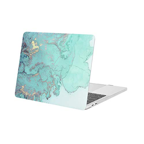 MOSISO MacBook Pro 13 inch Case 2020 2019 2018 2017 2016 Release A2338 M1 A2289 A2251 A2159 A1989 A1706 A1708, Plastic Watercolor Marble Hard Case Compatible with MacBook Pro 13 inch, Green