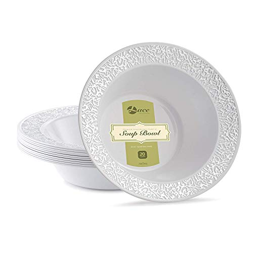 LACE PLASTIC PARTY DISPOSABLE BOWLS | 12 Ounce Hard Round Wedding Soup Bowls | White with Silver Rim, 20 Pack | Elegant and Fancy Heavy Duty Party Supplies Plates for all Holidays and Occasions