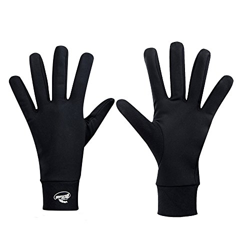 HIGHLOONG Compression Lightweight Sport Running Gloves Liner Gloves- Black - Men & Women(L)