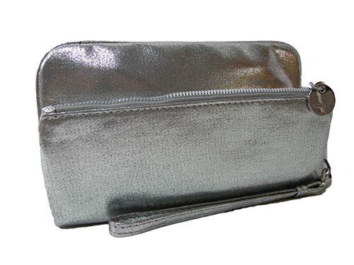 New Nine West Logo Wristlet Purse Handtasche Folding Clutch Silber Hochzeit Abschlussball