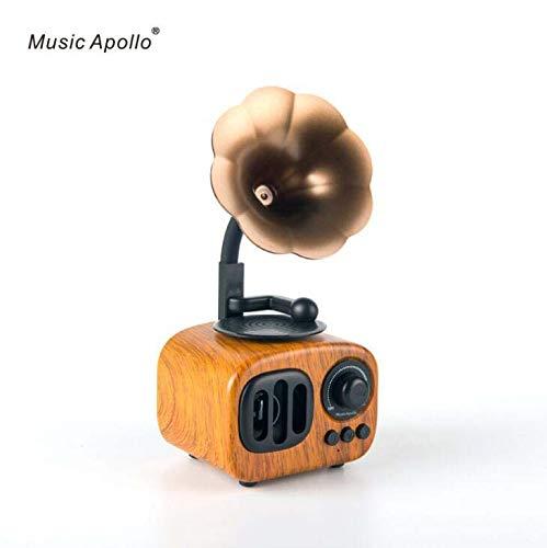 Bluetooth retro con sonido estéreo de controlador doble de 5 W, bajos intensos, alcance de Bluetooth de 10 m, micrófono incorporado. Altavoz inalámbrico portátil para iPhone, Samsung y más,Pearcolor