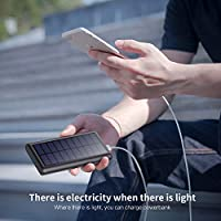 Solar Power Bank 26800mAh, HETP 【2020 Newest Solar Charger】 Portable Charger External Backup Battery Pack with 2 Outputs Huge Capacity Backup Battery Compatible Smartphone,Tablet and More 18