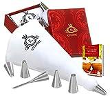 KITCHTIC® Premium Spritzbeutel Set - Großer Spülmaschinenfester Mehrweg Spritzsack aus Baumwolle mit Geschenksbox, 6 Edelstahl Spritztüllen, Adapter, Reinigungsbürste und E-Book mit Tipps & Tricks