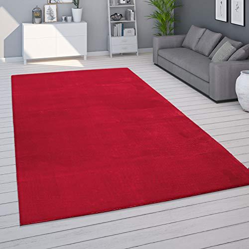 Tappeto per Soggiorno Unicolore Lavabile Morbido Pelo Corto Morbido, Dimensione:80x150 cm, Colore:Rosso