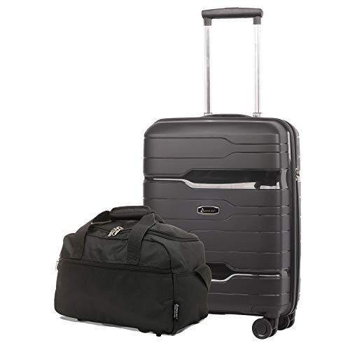 Aerolite 55x40x20 Hard Shell Cabin Case Carry On Hand Luggage Suitcase with TSA Lock + 40x20x25 Ryanair Maximum Size Holdall Cabin Bag