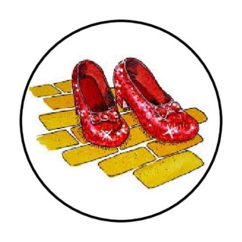 Creative Club Stickers 48 Ruby Red Slippers Small Phone Mini Logo Birthday Parties Envelopes Labels Seals Round 1.2