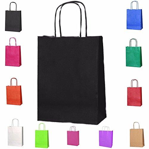 Papiertüten mit Kordelhenkel, aus Kraftpapier, als Geschenktüten geeignet, in verschiedenen Farben und Größen erhältlich, 15 Stück, Kraft-Papier, Schwarz , S