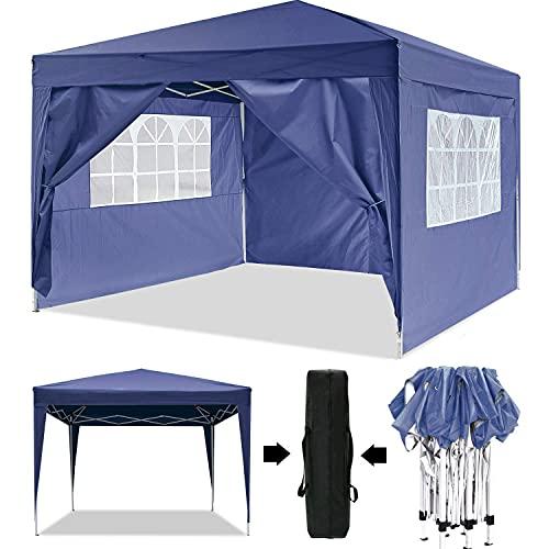 Oppikle Pavillon Faltpavillon 3x3 Wasserdicht Faltbare Gartenpavillon Festival Sonnenschutz Faltpavillon, UV-Schutz mit 4 Seitenteilen für Garten/Party/Hochzeit/Picknick (3 * 3m Blau)