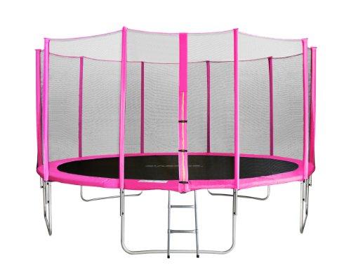 SixBros. SixJump trampolino elastico da giardino 3,05 m – trampolino per il giardino, trampolino all'aperto, set completo incluso scaletta, rete di sicurezza & copertura, fuchsia, TP305 1694