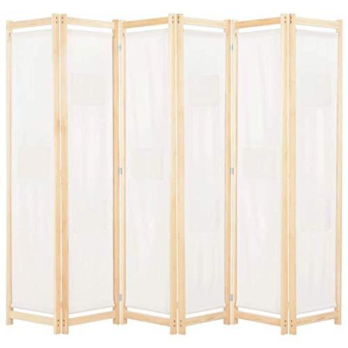 vidaXL Biombo Divisor de 6 Paneles de Tela Decoración Hogar Casa Jardín Bricolaje Salón Comedor Ambientes Habitaciones Separador 240x170x4 cm Crema