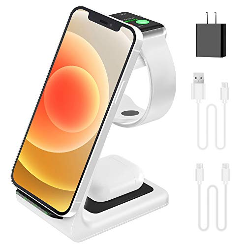 2020 Update Wireless Charging Station, JoyGeek 3 in 1 Wireless Charger, Qi Fast Charging Stand/Dock for Apple Watch SE/6/5/4/3/2, AirPods 2/Pro, iPhone/12/12 Pro/11/SE/X/XR/XS/XS Max/8 Plus (White)
