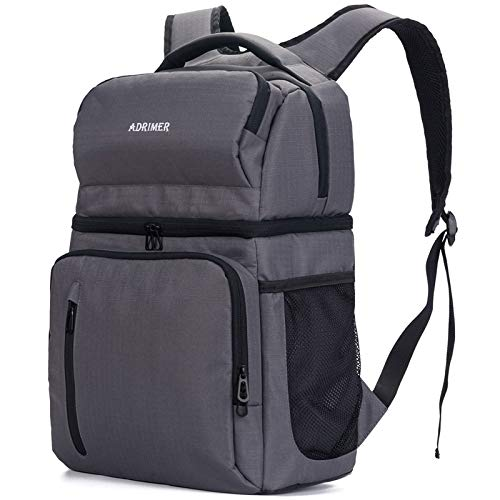 ADRIMER Backpack Cooler Leakproof, Lunch Cooler Backpack Insulated, Double Deck Backpack Lunch Bag for Men Women to Beach Work Fishing Travel Hiking