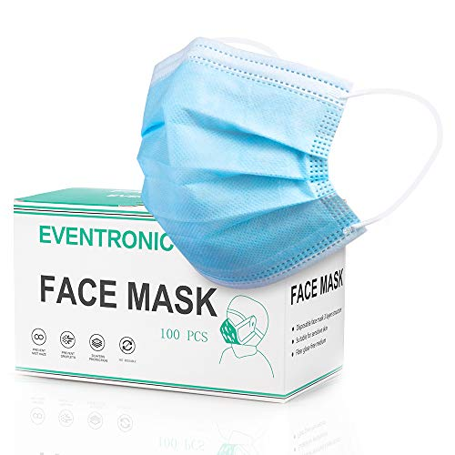 Safety Mask, Eventronic 3-Layer Masks, Comfortable Face Mask, Blue (3000)