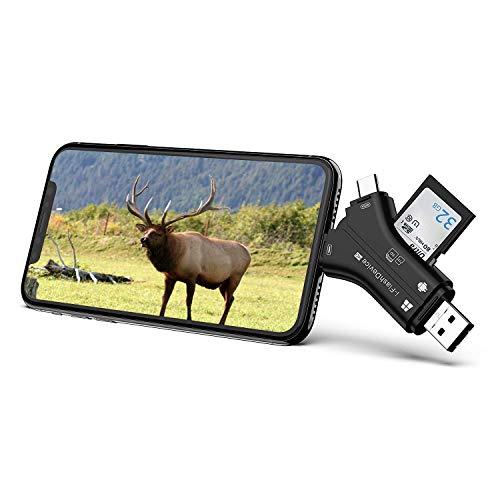 Lettore di schede 4 in 1 Videocamera di caccia Lettore di schede SD Viewer e lettore di schede di memoria Micro SD per iPhone iPad Mac Laptop e smartphone Android (nero)