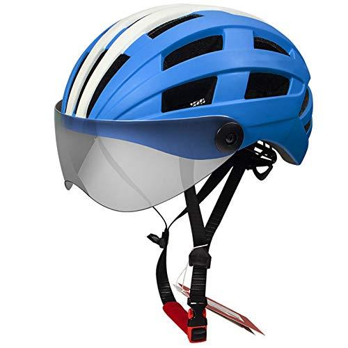 Casco Bicicleta Yuan Ou Casco de Ciclismo MTB Bike Lente Transparente Casco de Bicicleta Azul Blanco