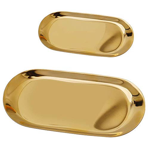 Bandeja de almacenamiento de oro de acero inoxidable ovalada bandeja de joyería cosmética placa de la cena de la torta de la fruta plato de la cena de la mantequilla llaves monedas (2 piezas)
