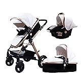 ベビーカー、Babyfond-JTBS、T900折りたたみ式旅行システムのベビーカー、軽量スリーピングバシネット、0-3歳の新生児用ハンドヘルドセーフシート(白)