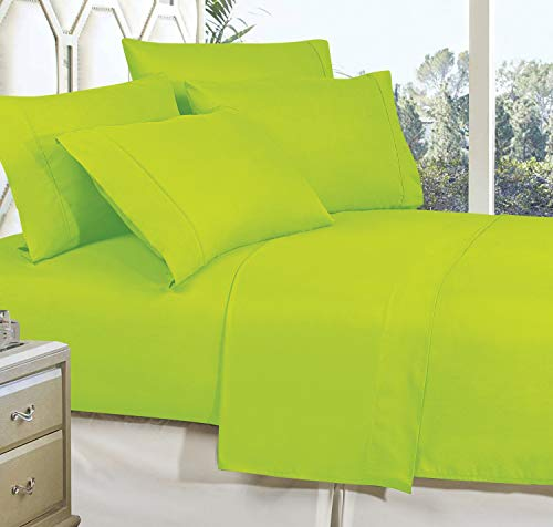 CELINE LINEN Best, Softest, Coziest Bed Sheets Ever! 1800 Thread Count Egyptian Quality Wrinkle-Resistant 4-Piece Sheet Set with Deep Pockets 100% Hypoallergenic, King Lime