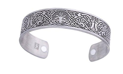 Viking Tree of Life Raven Talisman Magnetic Bangle Cuff Bracelet for Easing Fatigue Blood Circulation for Women Men (Antique Silver)