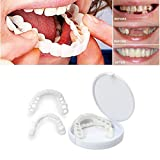 Fake Teeth Smile Veneers Dentures Temporary Replacement Tooth Kit for Top Or Bottom Missing Teeth, No Pain No Shots No Drilling Fix Smile Confidence in Minutes At Home (1 upper+ 1 lower+2 adhesives)