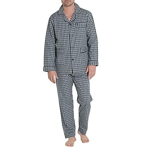 El Búho Nocturno - Pijama Hombre Largo Solapa Popelín Cuadros Marino 100% algodón Talla 4 (L)