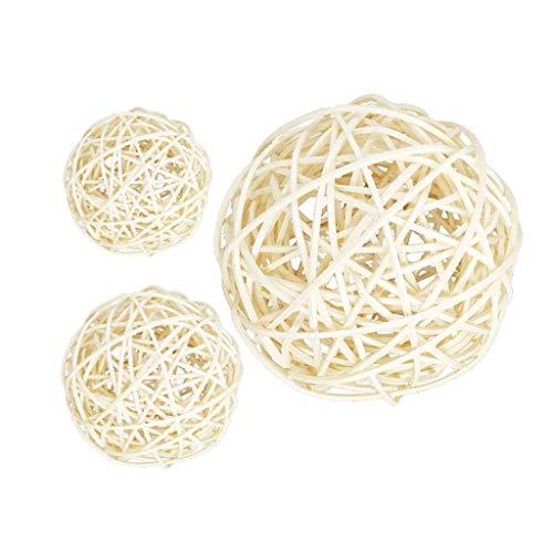 Bolas de ratán de Mimbre Grandes Blancas de 3 Piezas de 60-100 mm - Bolas Decorativas para Cuencos, Relleno de jarrones, decoración de Mesa de Centro, decoración de Banquete de Boda