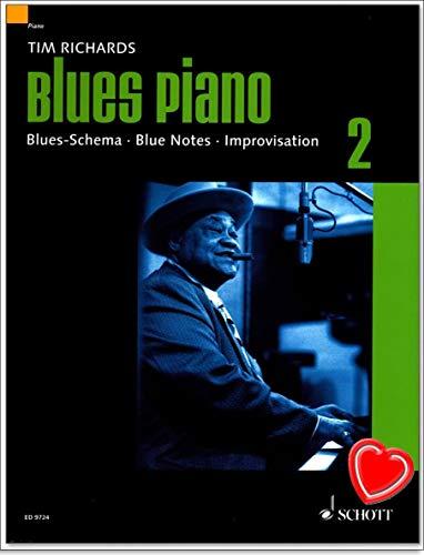 Blues Piano Band 2 - Blues-Schema - Blue Notes - Improvisation - Lehrbuch von Tim Richards mit bunter herzförmiger Notenklammer - ED9724-9783795757168