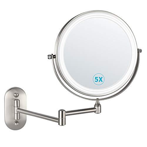 alvorog 8 Pouces LED Miroirs de Maquillage, Double Face Miroir Mural, Miroir Grossissant Mural avec 0.5h Fonction d'arrêt Automatique, Charge par Batterie, Choix de Cadeau Iéal (Nickel)