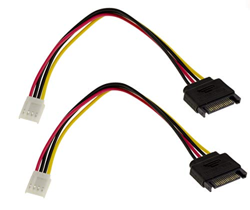 Kalea Informatique – Lote de 2 cables adaptadores de alimentación SATA de 15 puntos macho a Floppy (Mini Molex de 4 puntos) – Longitud 20 cm