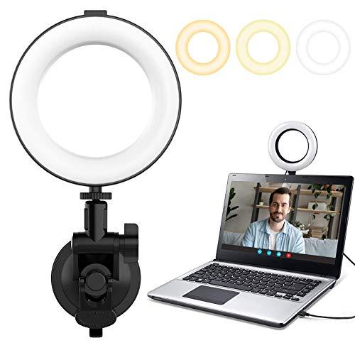 VIJIM Video Konferenz Beleuchtungs Ringlicht Set, Dreifarbiges 6'' Ringleuchte für Fernarbeiten, MacBook, Video-Konferenzbeleuchtung, Laptop-Licht für Videokonferenzen, Live Streaming