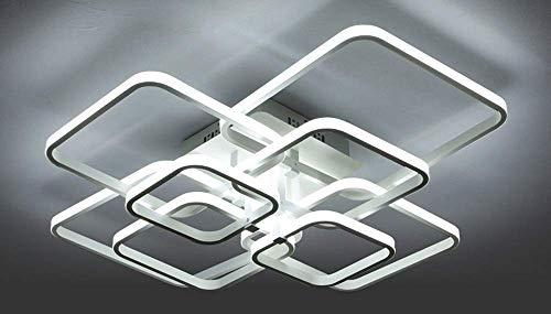 Led-plafondlamp, dimbaar, moderne montage, hanger voor woonkamer, keuken, slaapkamer, kantoor, inbouw, metaal, acryl, 8 vierkant, decoratieve stijl, binnen hal met afstandsbediening 160 W