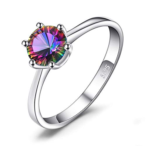 RKWEI Ringe Für Sterling Silber Ring Geheimnis Feuer Regenbogen Topas Schmuck Lady Schmuck Ring 8