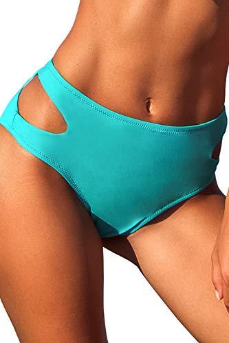 CUPSHE Damen Bikinihose Bauchweg Effekt Cut-Outs Badehose High Waist Hipster Bikini Slip Mintgrün L