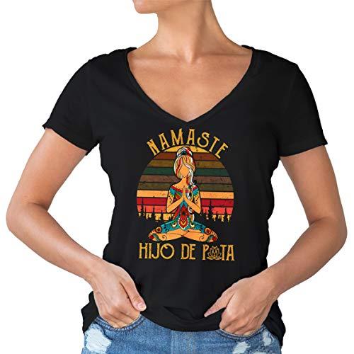 All invited Hijo De Puta V-Cuello de la Camiseta Negro de la Mujer Size XL