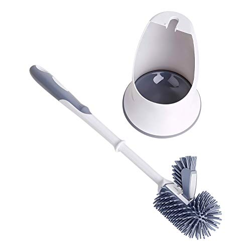 Toilet Brush and Holder,Silicon Toilet Bowl Cleaning Brush Set,Under Rim Lip Brush and Storage Caddy for Bathroom